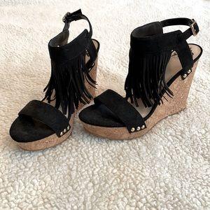 Fergalicious Size 7 Black Wedge Sandal